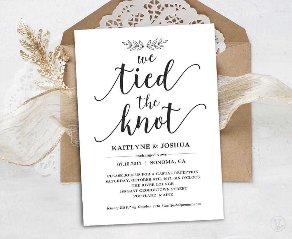 The Knot Addressing Wedding Invitations: Elopement Reception Invitation Template Printable Elopement