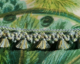 3.96 Mtrs of Stunning Vintage French Aqua Blues & Greens Fan Fringed Passementerie Trim,Vintage Sewing,Haberdashery,Mercerie