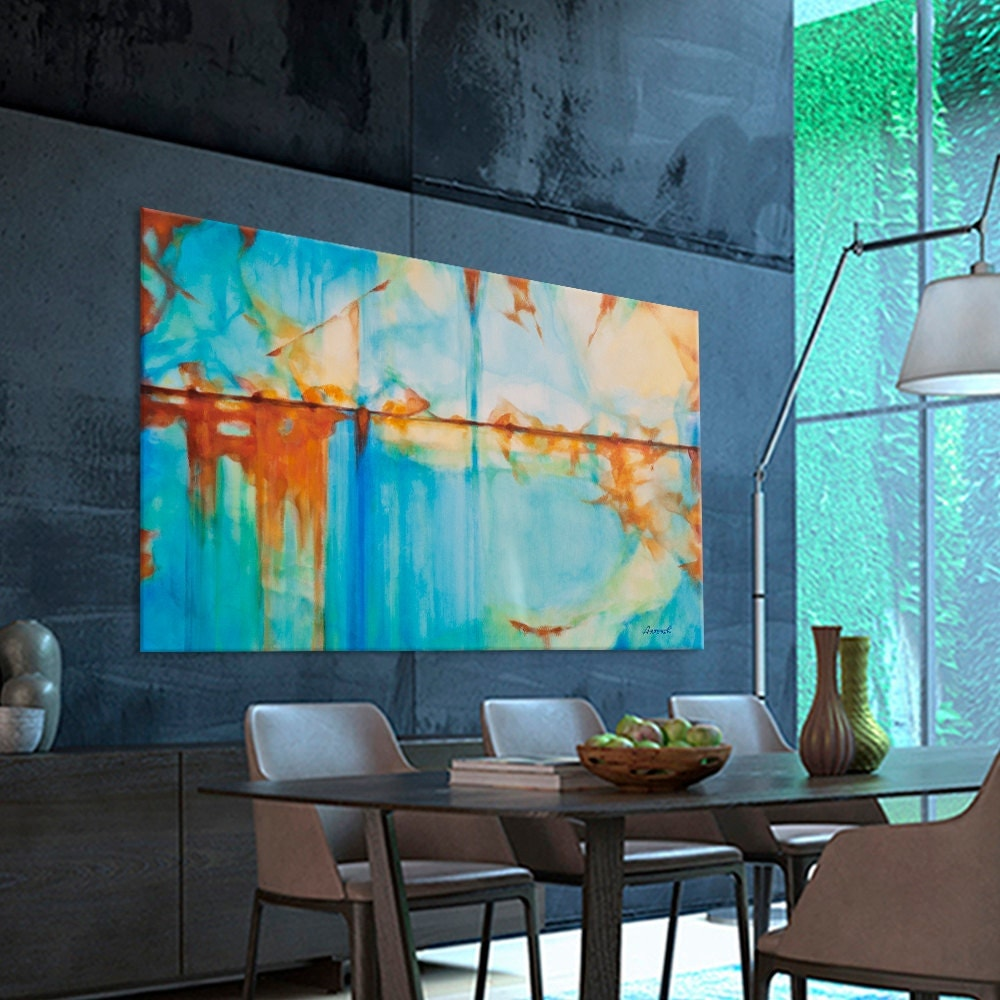 abstract painting large turquoise blue green orange by artoosh. Black Bedroom Furniture Sets. Home Design Ideas