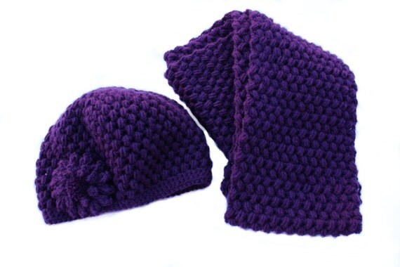 Ready to Ship**Free Shipping/Crochet Hat and Scarf Set/Purple Hat and Scarf/Medium Long Ladies Purple Scarf Hat Set/Violet Hat and Scarf Set