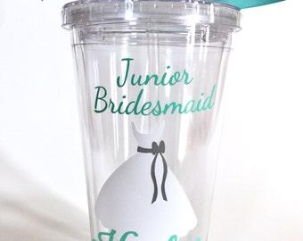 Junior Bridesmaid Personalized Tumbler - Will You Be My Junior Bridesmaid, Bridesmaid Gift, Bridal Party Gift - 16 oz Tumbler