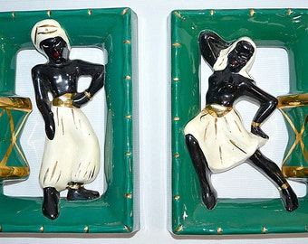 Vintage Mid Century Teal Green Metallic Gold Black and White Ceramic Nubian Blackamoor Wall Plaques