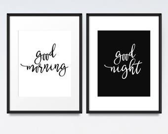 Bedroom print set, Digital download, Good morning, Good night, Quote art, Black & white print, Modern minimalist, Nursery print, Art set