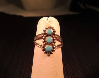 Tribal Sterling Silver Turquoise Ring - 5