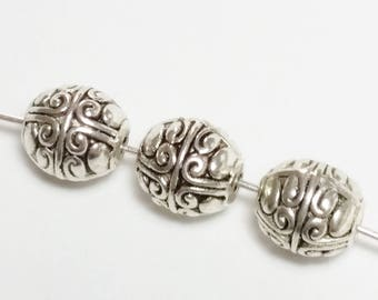 10pcs Oval Carved Beads - Antique Silver Beads - Tribal Beads - Metal Beads - Jewelry Supplies - 8x7mm Beads - B46389