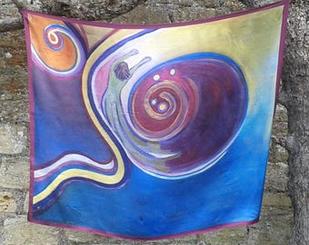 100% Lozzabubbleart satin scarf/wall-hanging of original oil painting 'Leaving'.