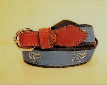 University of Middle Tennessee Men's  Web Leather Belt