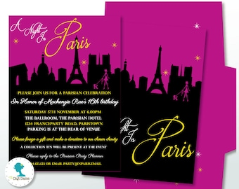 A Night in Paris Party Printable Invitation in Purple and Black, 5x7in. Instant Download
