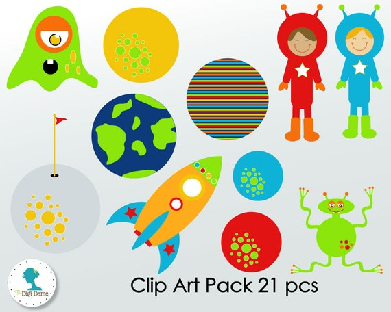 Outer Space Astronaut Digital Scrapbooking Clip Art Buy 2 Get