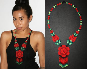 Traditional Huichol Beadwork Necklace, Red Flower Necklace, Seed Bead Necklace, Native American Beaded Necklace, Ethnic Statement Necklace