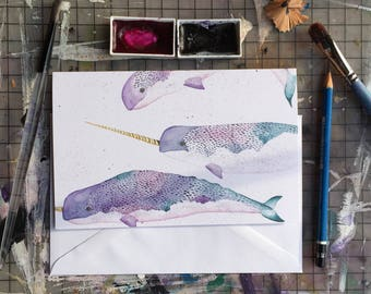 Narwhal card,whales,birthday card, baby shower card,attack collective,atk collective