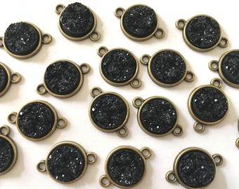 Black Druzy Beads with 2 Holes, Faux Druzy Connector Beads, brown druzy, druzy bracelet, druzy bangle, black bracelet, black jewelry, gold