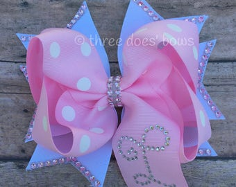 Pink Hair Bow - Pink and White Hair Bow - Pink Stacked Hair Bow - Pink Boutique Bow - Monogrammed Hair Bow - Rhinestone Hair Bow