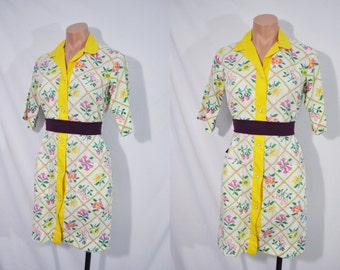 Vintage 60s Yellow Floral Day Dress Summer Housewife Dress Short Sleeved Button Up Mod Dress Mid Length Shirt Dress Mad Men Shift Dress