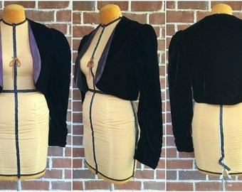 Vintage Black Velvet Black Velvet Cropped Shrug Bolero Jacket / Purple Satin Lining / Puffed Sleeves / Women's Medium to Large