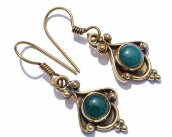 Gold Plated Green Onyx Earrings Gemstone Earrings Handmade Earrings Handmade Jewelry (Ear07)