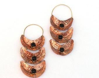 Copper Hoop Earrings - Black Onyx Earring - Gemstone Designer Earring - Rustic Earrings - Organic Earring - Copper Jewelry