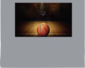 Basketball Court with Ball and Hoop PHOTO TEX Removable Cling Wall Decor