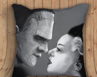 a different kind of love - Frankenstein - Bride of Frankenstein Pillow with stuffing