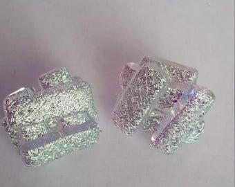 Yellow-Purple-Dichroic Glass Stud Earrings - Silver
