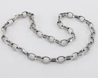 """14k White Gold Rolo Link Choker Necklace 17"""" 14.7 grams"""