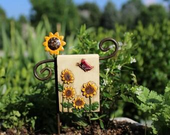 Fairy Garden  - Summer Dreams Mini Flag w/Post - Miniature