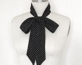 "Polka dot scarf of silk crepe. 60""x 2"" Skinny scarf in black & white is a versatile accessory. Wear it as a choker, headscarf or sash belt."