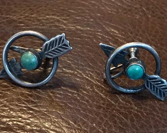Old Navajo Sterling Silver & Turquoise Arrow Earrings