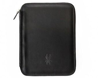 ARIA Large black leather folio in 2 sizes, iPad Leather case,designer, handmade, luxury, handmade, fashion, trend, office, folder, python