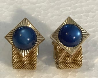 Vintage Men's Cuff Links Blue Stone Gold Tone