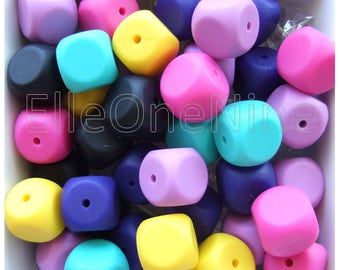 BULK // Cube dice silicone beads 10 pack - BPA Free - Washable teething beads 15mm - Wholesale Craft Supplies