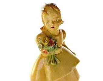 Vintage Chalkware Girl figurine Holding Flowers #A42