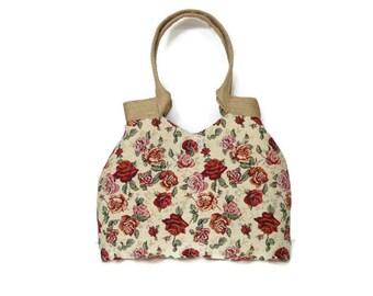 Romantic valentine's gift, floral tote bag roses,  gobelin shoulder bag, tote bag roses, tapestry tote bag, floral purse, roses handbag