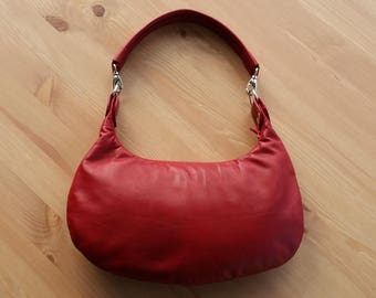 Red leather handbag, leather shoulder bag, hobo bag