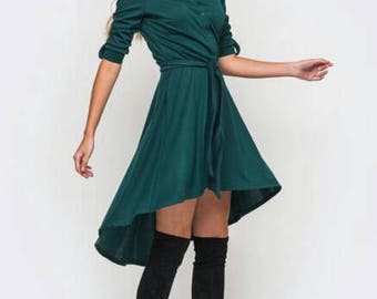 Casual dark green dress Spring Autumn clothes Party Stylish dress Asymmetric emerald dress New collection