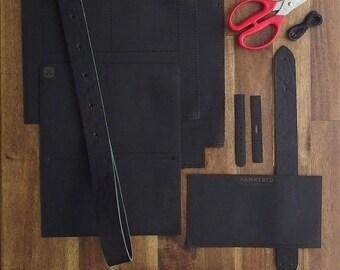 Navy - Everyday Satchel - Genuine Leather Satchel - DIY Kit - Full Grain Leather - Craft Kit - Crafts - Natural - Tan - Khaki - Olive