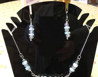 Amazonite and Crystals on Silver Wire Set