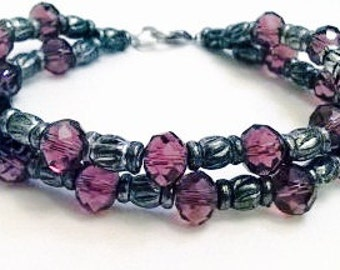 Handmade Double Row Purple Crystal And Silver Bracelet