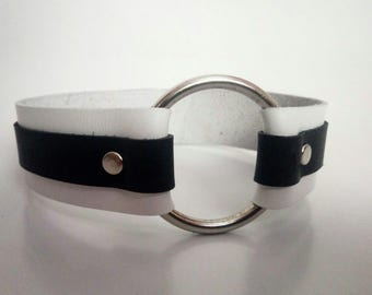 Black and White Leather Collar