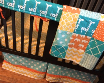 Custom Crib Bedding Set, Made to Order, Orange, turquoise, yellow and mint, with giraffe and elephants and other modern designs
