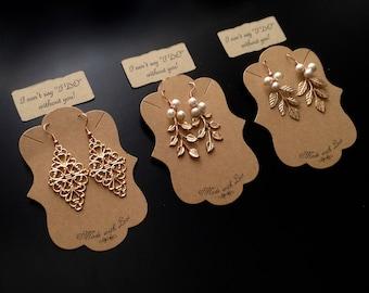 Bridesmaid Gifts - Boho Rose Gold Plated Leaf Earrings - Bridal Filigree Earrings - Gifts for Her - Gift for Girlfriend - Dangle Earrings
