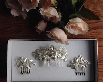 Silver Bridal Hair Comb, Crystal, Pearl Hair Comb, Gifts for Her, Silver Leaf Comb, Bridal Comb, Boho Hair Comb, Large Comb 1 (S)