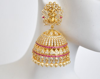 Laksmi temple CZ cubic zirconia jhumkis | Indian Jewelry | Indian Earrings | Gold plated