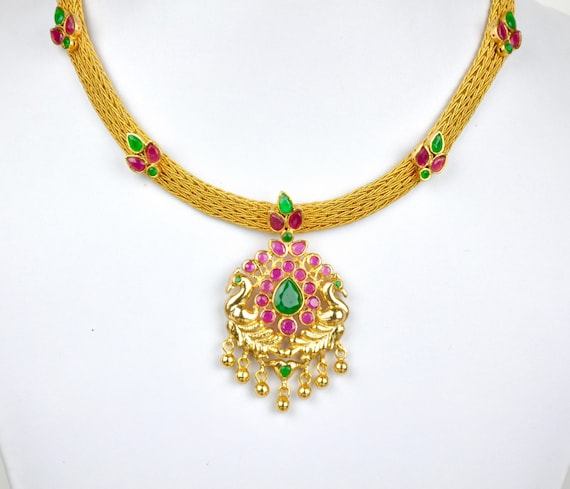 Antique gold design Indian lakshmi temple attigai necklace  with earrings  | Indian Jewellery | Indian Necklace | Temple Jewe