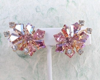 Vintage Signed Vendome earrings with pink Kite stone rhinestones AB696
