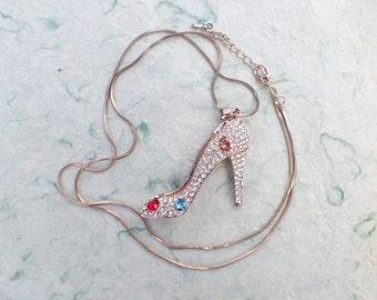 Vintage Rhinestone high heel shoe pendant necklace AB742