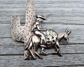 Mexico Sterling Brooch man on Burro or donkey by cactus AC092