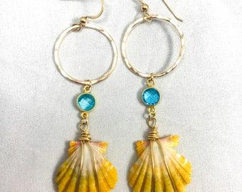 Blue quartz sunrise shell earrings