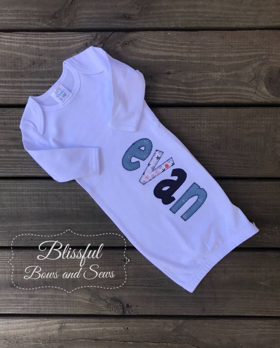 Monogrammed Boy Baby Gown-Monogram Baby Boy Gifts-Monogrammed