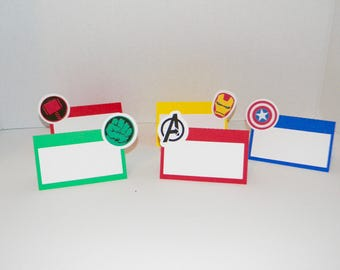Avengers Food Tent cards. Avengers Birthday Party Decorations.